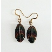 Hand-carved Feather dangle earrings