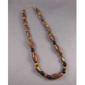 Natural Rainbow Bead with Tiger Eye and Black Onyx Necklace