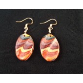 Sculptured Oval Dangle Earrings