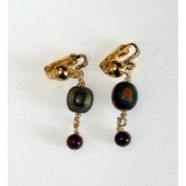 Round Bead and Gemstone dangle earrings