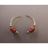 Continuous Wire Earrings with Round Bead