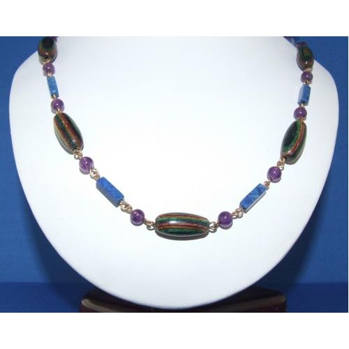 Mardi Gras bead with Amethyst and Lapiz Gemstone Necklace