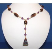 Grape Jam Triangle w Oval and Round Beads & Amethyst Gemstone Necklace