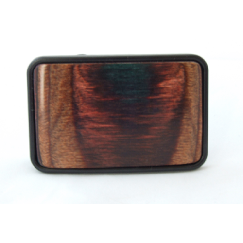 Black Metal Finish Belt Buckle with Smooth Wood