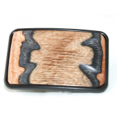 Black Metal Finish Belt Buckle with Sculptured Wood