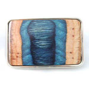 Silver Metal Finish Belt Buckle with Smooth Wood