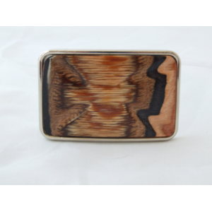 Silver Metal Finish Belt Buckle with Sculptured Wood